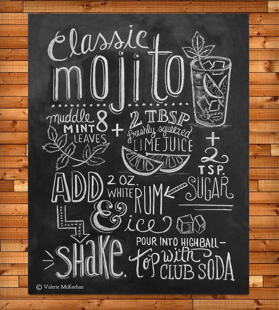 Mojito recipe chalkboard art print mojito for Kitchen chalkboard designs