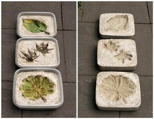 You just need some simple plastic square moulds and leaves. Just pour concrete in them and press some fallen leaves in them. Weight leaves with small stones, wait for concrete to dry and enjoy your new beautiful stepping stones. #steppingstonespathway