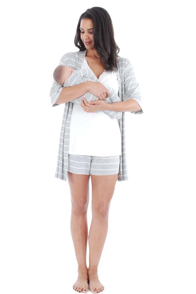 Everly Grey Daphne 5 PC Mom   Baby Maternity Nursing Short Pajama ... 0833d42b9