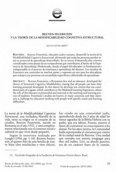 Teoria De La Modificabilidad Cognitiva Estructural Teoria Aprendizaje Resumen