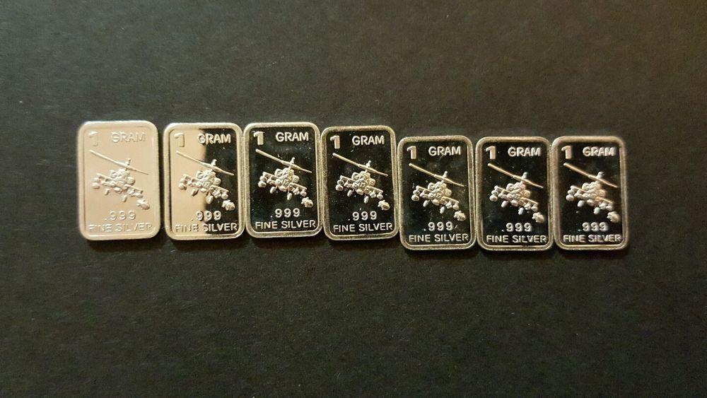1 x 1 gram .999 silver bullion bar, helicopter design #KLHCoins