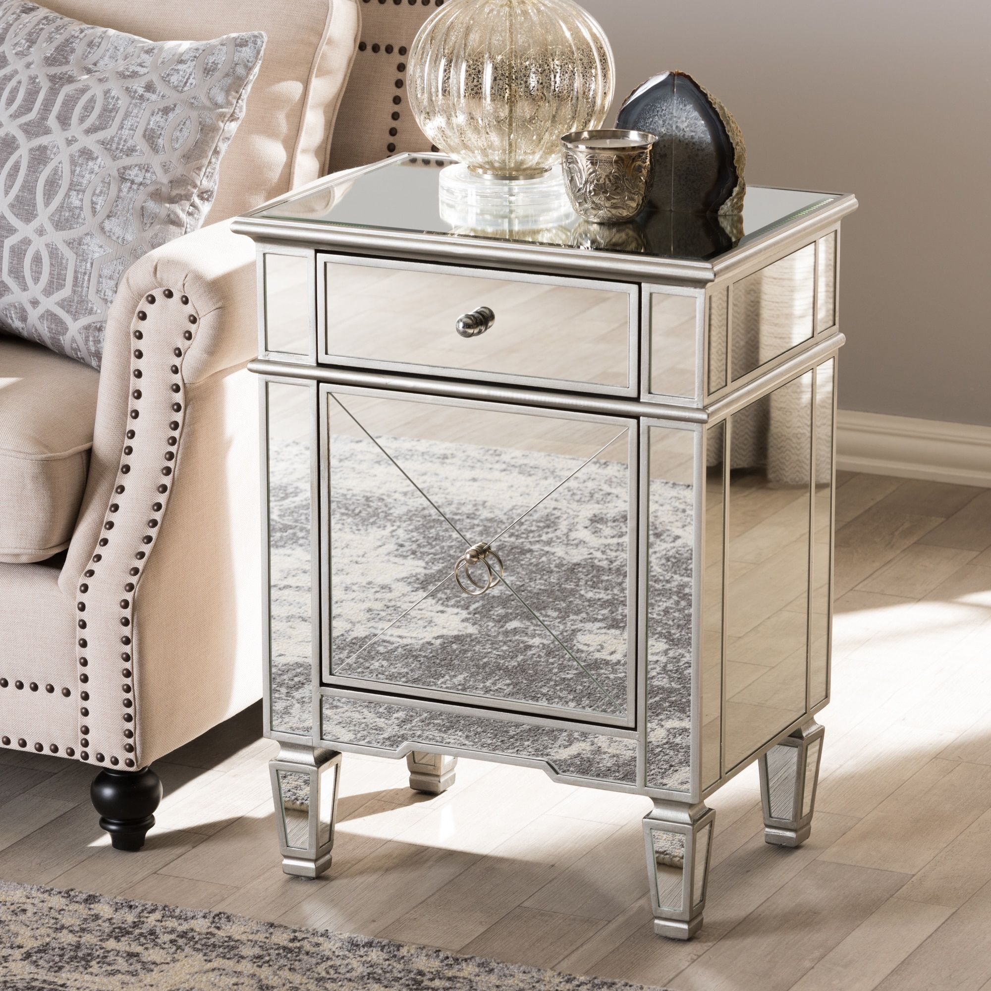 Glam silver mirrored nightstand by baxton studio nightstand silver mirrored size 1 drawer mdf