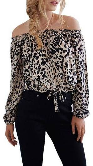 e115aeb1aac040 Off Shoulder Top in Leopard Print Leopard Fashion, Plus Size Casual, Shirt  Blouses,