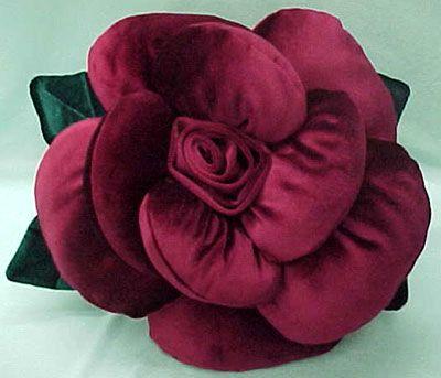rose pillow pattern of velvet threads
