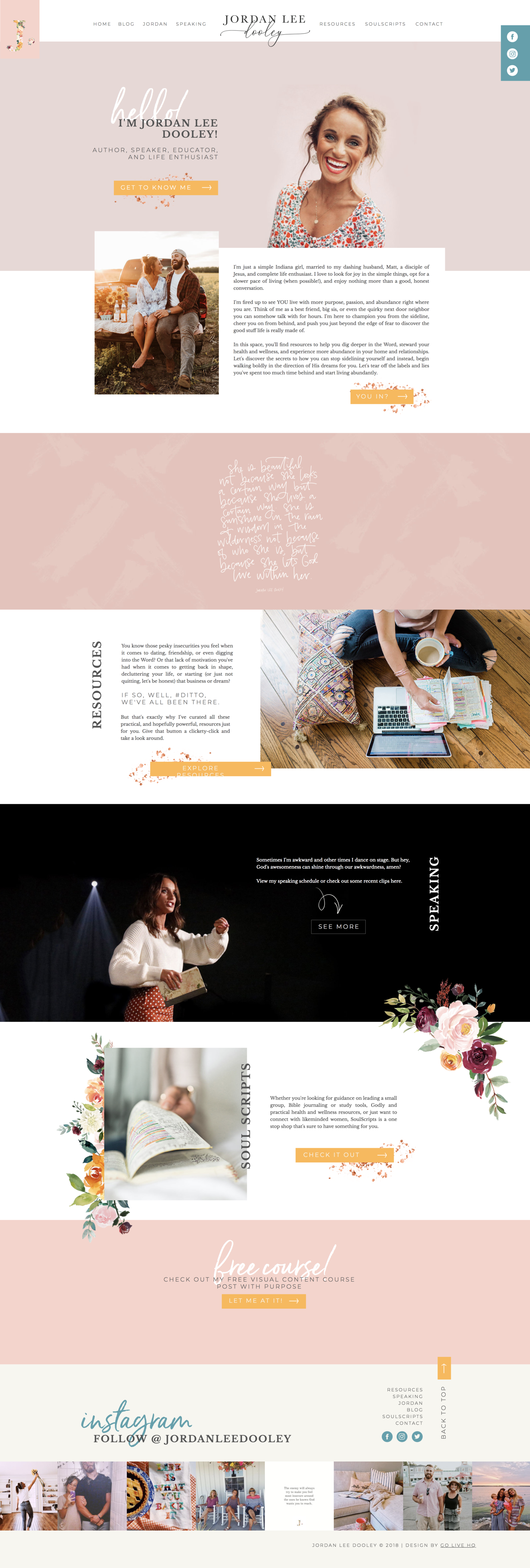 Creative And Colorful Website Design For Christian Speaker Design By Go Live Hq Colorful Website Design Feminine Website Website Design Layout
