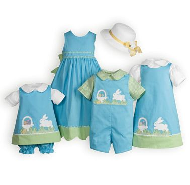 febb010a Basket and Bunnies matching Brother -Sister Easter outfits.USA made  exclusively for The Wooden Soldier.