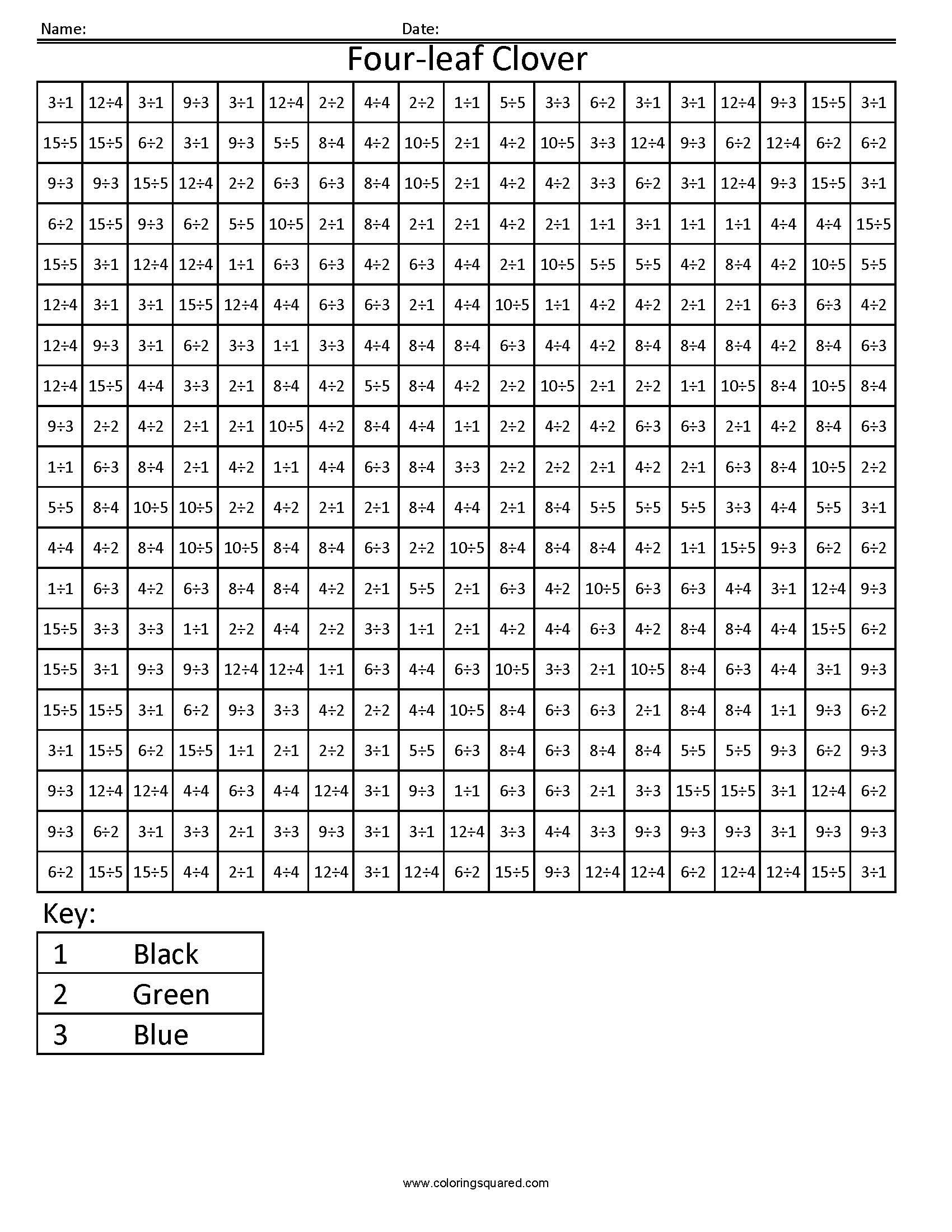 four leaf clover holiday division teaching multiplication multiplication worksheets. Black Bedroom Furniture Sets. Home Design Ideas