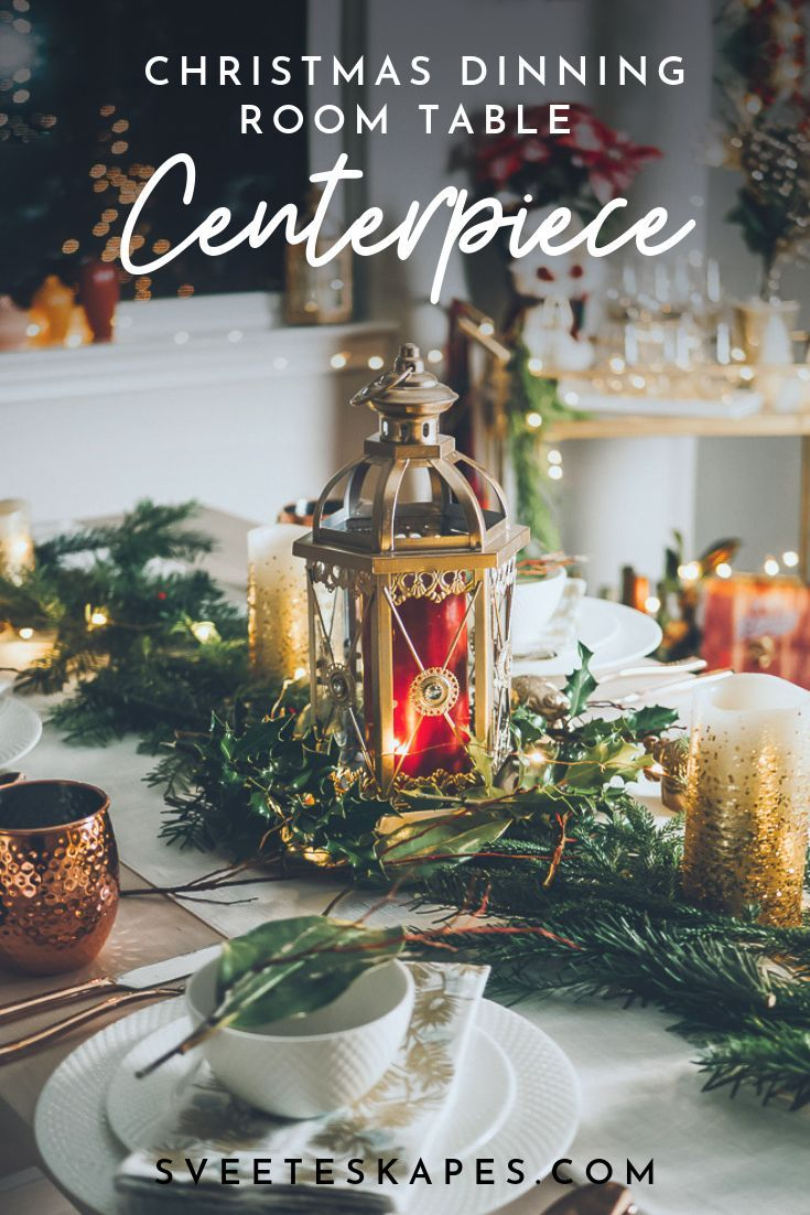 Simple winter themed Christmas and holidays dinning room centerpieces and tablescape. Click for full dinning room makeover reveal. Gold and brass accents give this simple farmhouse rustic chic table a luxurious feel.