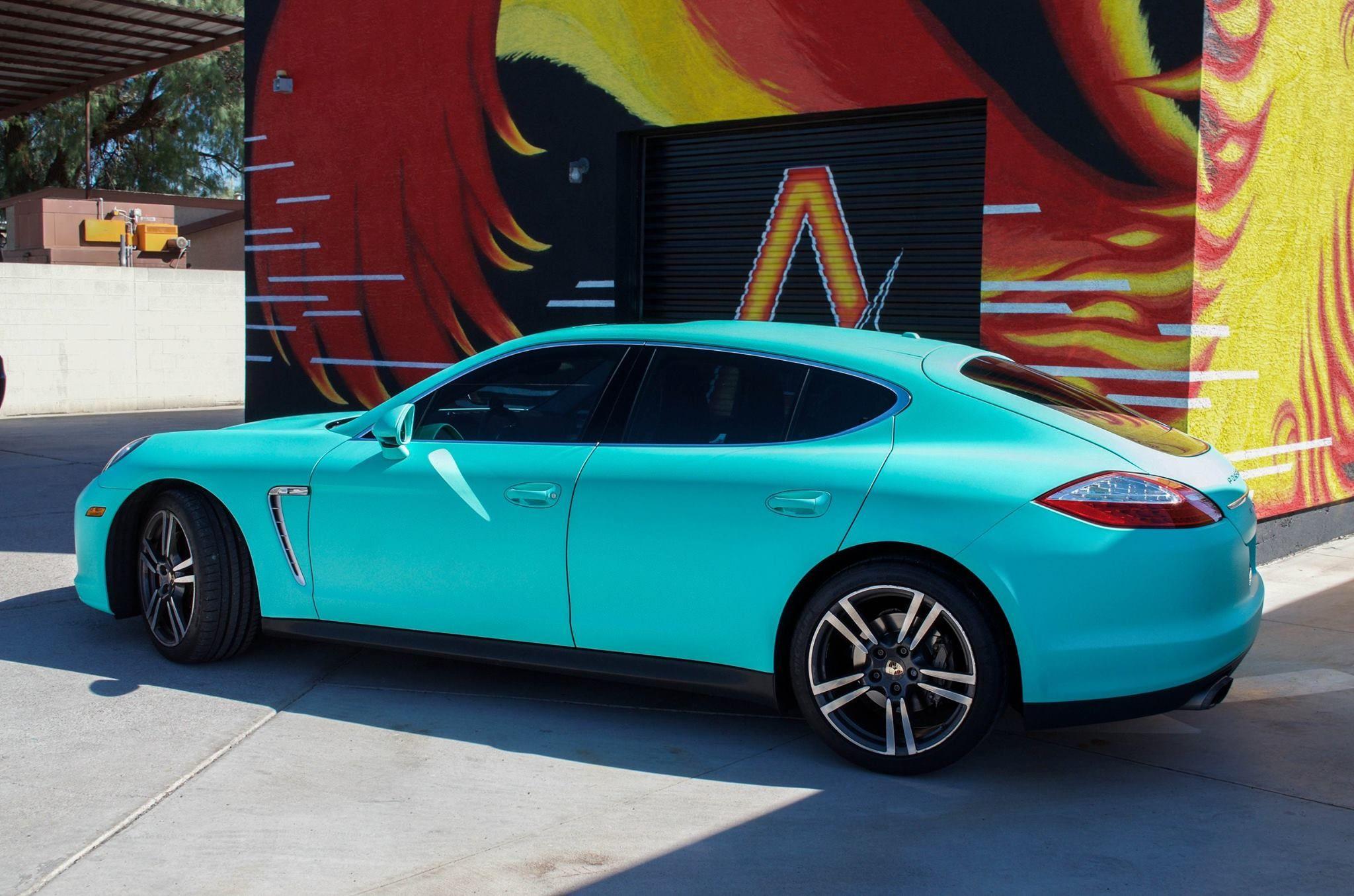 Porsche Panamera 4s Matte Emerald Green From Avery Dennison Tiffany Blue Automotive Shops Vinyl Racing Stripes Vinyl Wrap Car