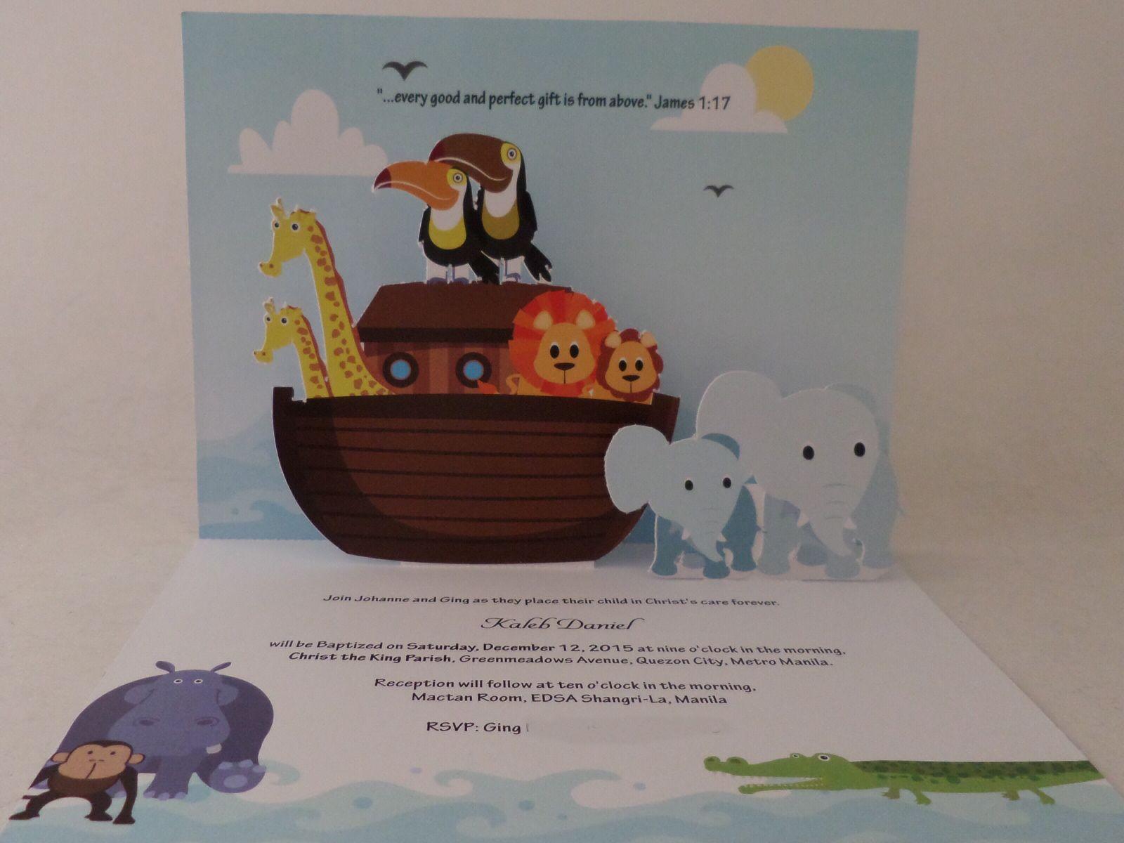 Noahs ark pop up for baptismal invitation card baptism pinterest noahs ark pop up for baptismal invitation card stopboris Images