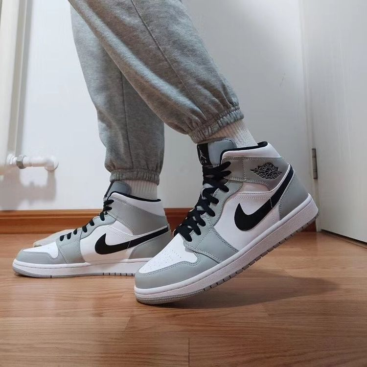 Jordan 1 Mid Light Smoke Grey in 2021 | Nike casual shoes, Jordan ...
