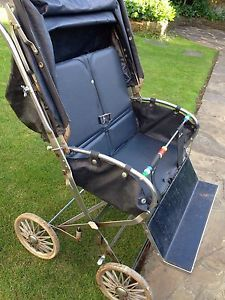 Vintage Retro Silver Cross Carnival Twin Pushchair Pram