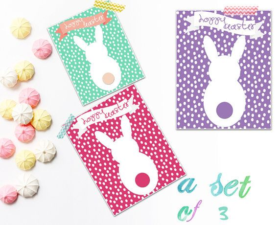 Happy Hoppy Easter bunny silhouettes. Set by SansSouciPrintables