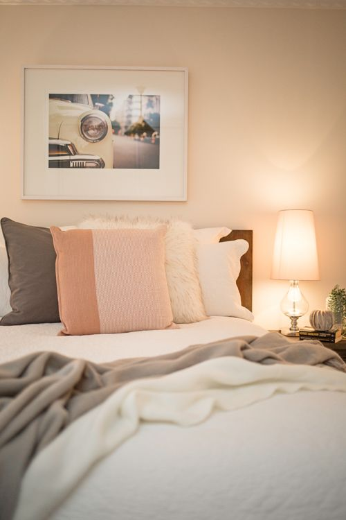 Guest Bedroom, Dark Timber Bed And Matching Bedside Tables, Pink Cushion,  Faux Fur Cushion, Neutral Styling, Relaxing, Calming