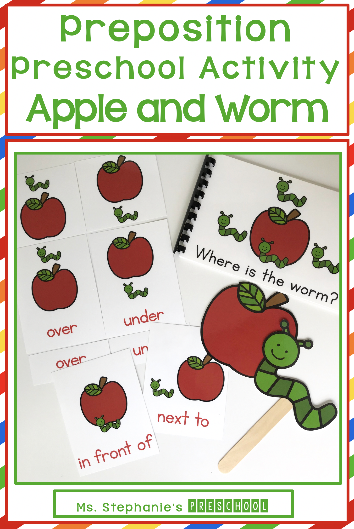 Apple And Worm Preschool Preposition Activity In