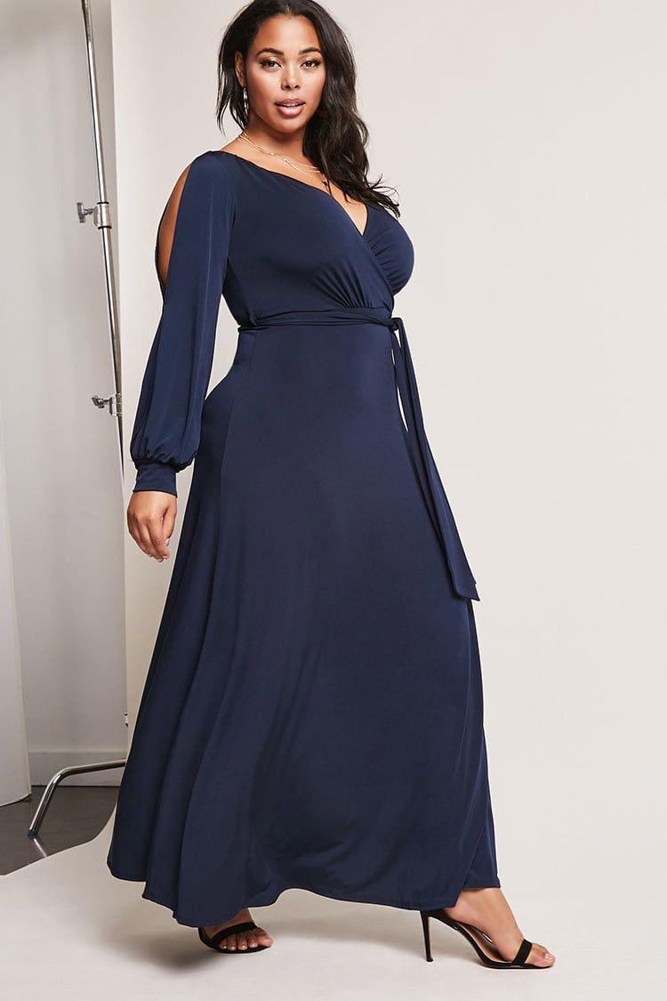 36cda9eedd1 Plus Size Surplice Maxi Dress