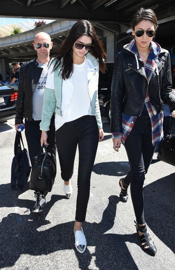 b0ec3239fa13 Kendall Jenner walks in Miu Miu Metal Cap Toe Skate Sneaker