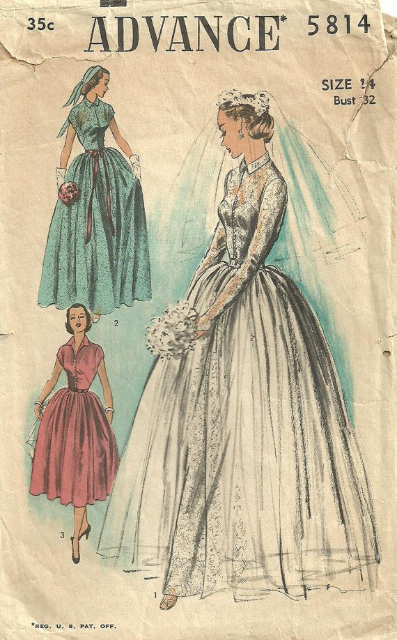 advance 5814 vintage 50s bridal sewing pattern by