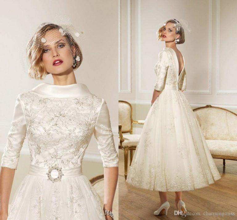 1950s Wedding Dresses Pinterest 1950s Wedding Dresses Manchester 1950s Wedding Dress Half Sleeve Wedding Dress Tea Length Wedding Dress Wedding Gown Backless