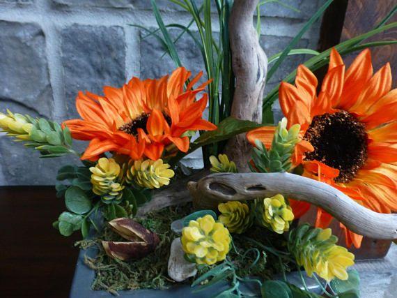 arrangement floral centre de table fleurs artificielles tournesol