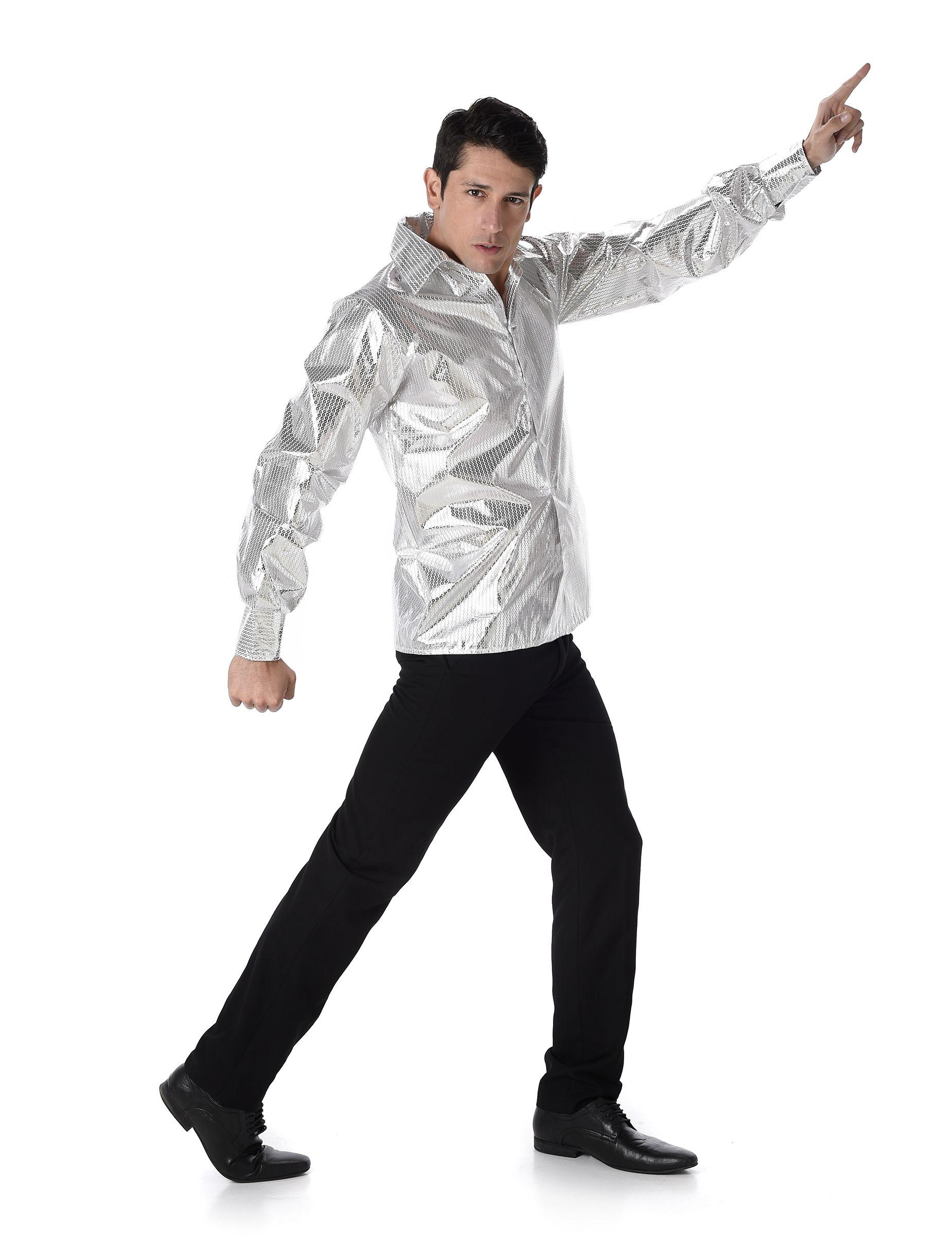 90e5210c71 Camisa disco brillante plateada hombre  Esta camisa disco es para hombre.Es  de tejido