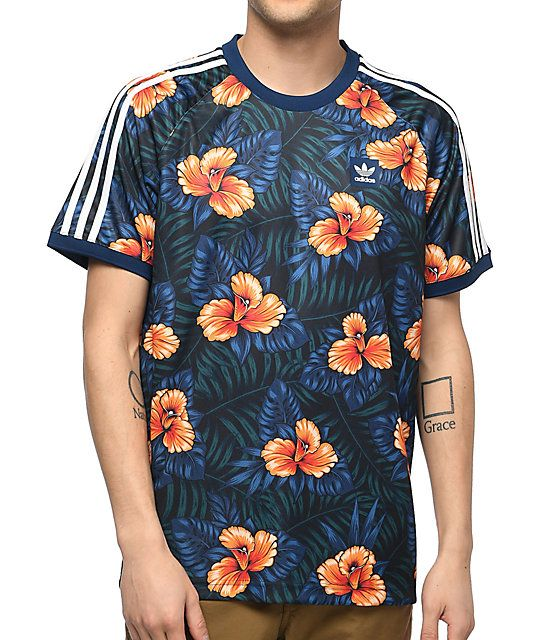 more photos 88657 657f6 Stay cool with the Blue Floral Jersey from adidas skateboarding. Crafted  with Climalite material technology to wick away moisture from your skin  while ...