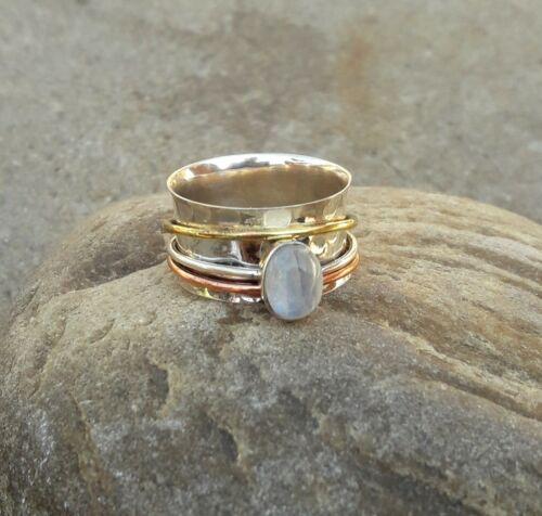 Moonstone solid 925 Sterling Argent Spinner Ring méditation Statement Ring SR308