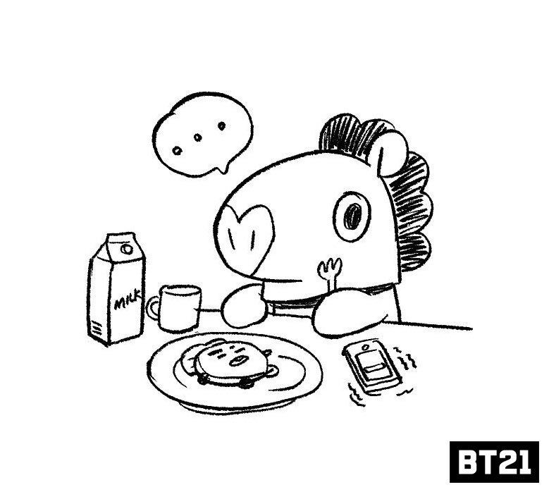 Bt21 Tren Twitter Mang Coloring Books Coloring Pages Bts Drawings