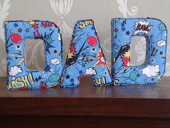 DAD superhero gift, ideal for Christmas, birthday or fathers day. Fabric letters keepsake present, home decor, wall hanging, uk