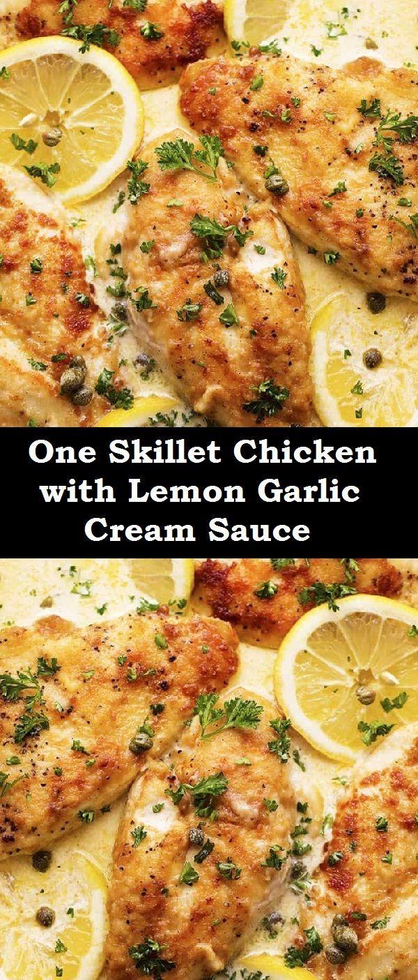 One Skillet Chicken with Lemon Garlic Cream Sauce -  One Skillet Chicken with Lemon Garlic Cream Sa