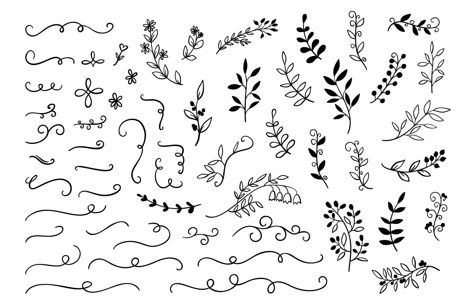 hand drawn doodle branches dividers set every day journaling