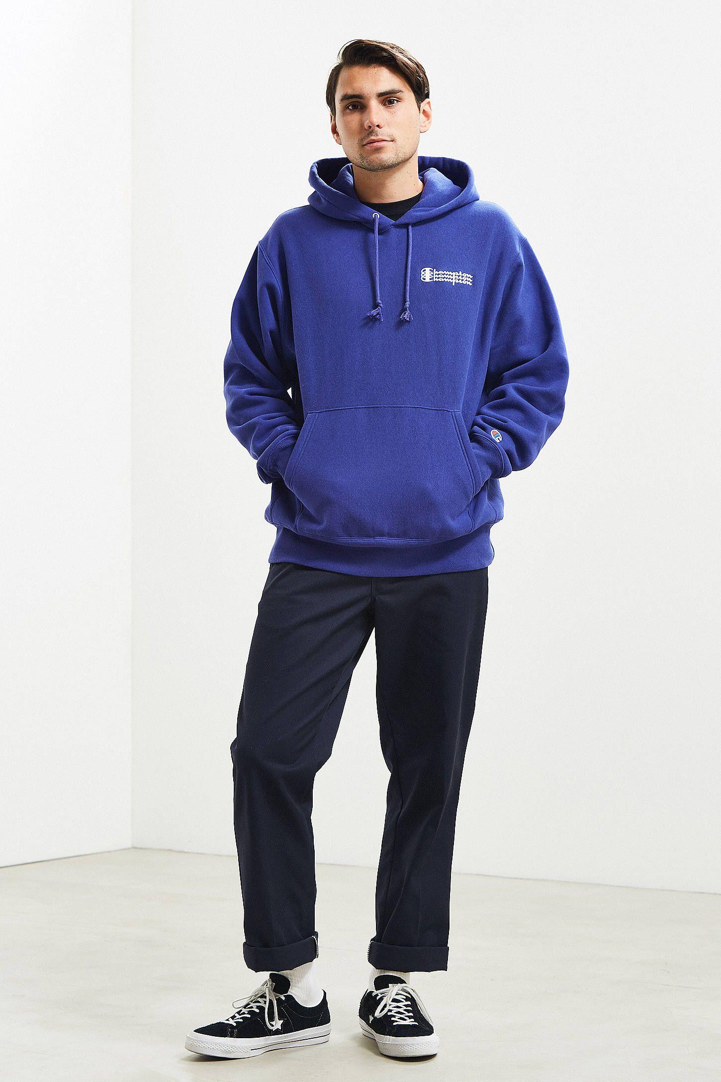 Champion Uo Exclusive Blue Triple Script Reverse Weave Hoodie Sweatshirt Sweatshirts Hoodie Sweatshirts Hoodies [ 2175 x 1450 Pixel ]