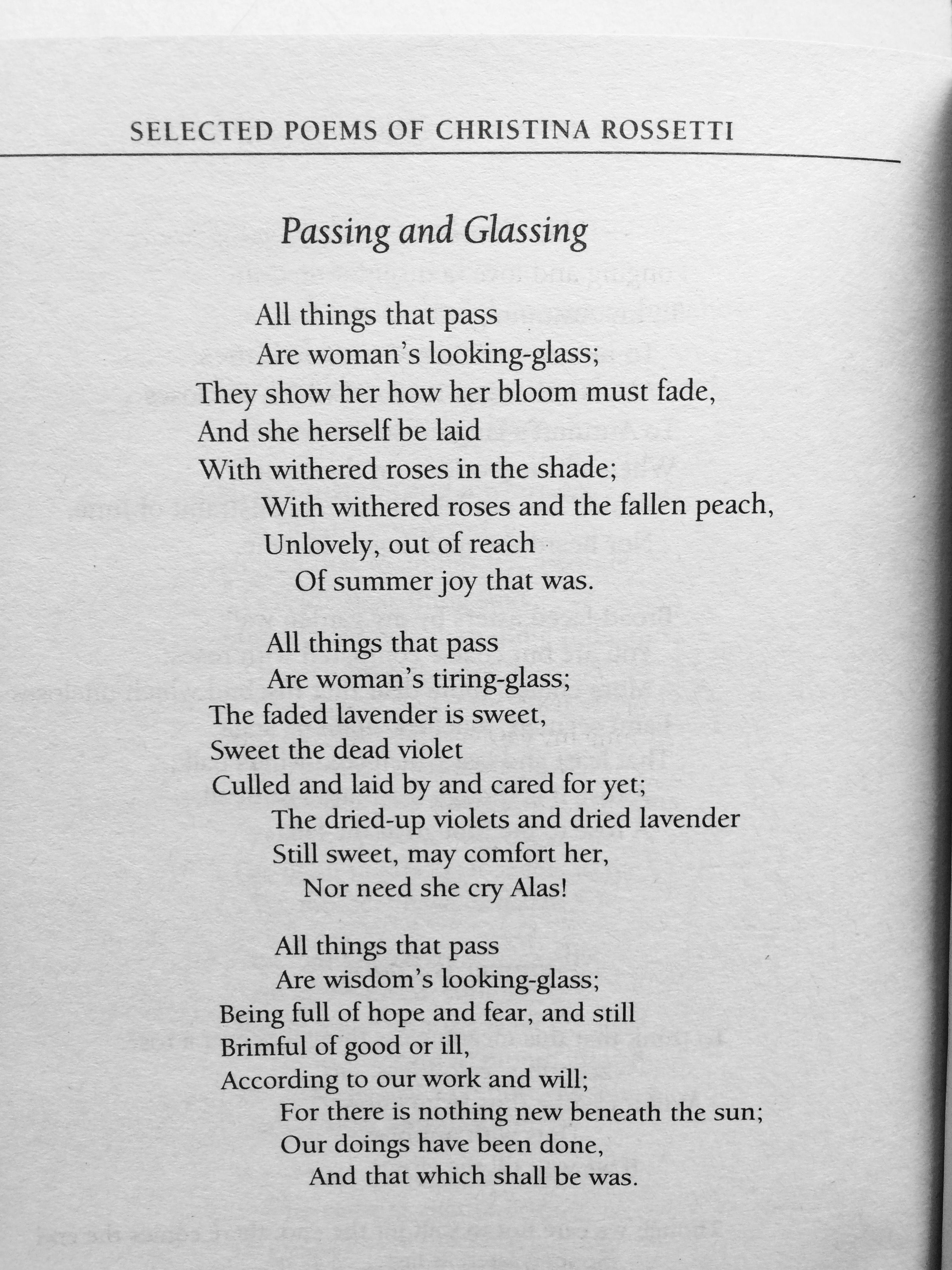 Christina Rossetti Passing And Glassing Selected Poem Wordsworth Library Because I Could Not Stop For Death Paraphrase