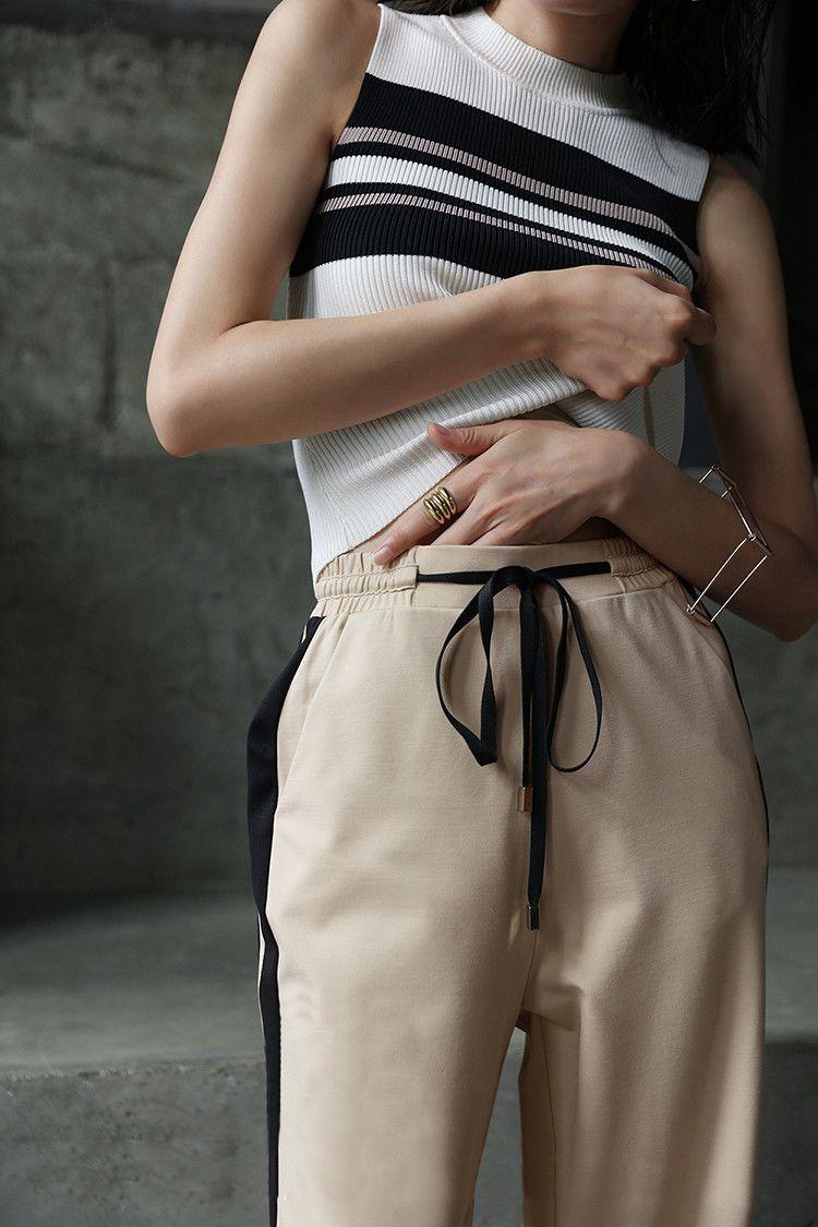 High Waist Striped Sweatpants