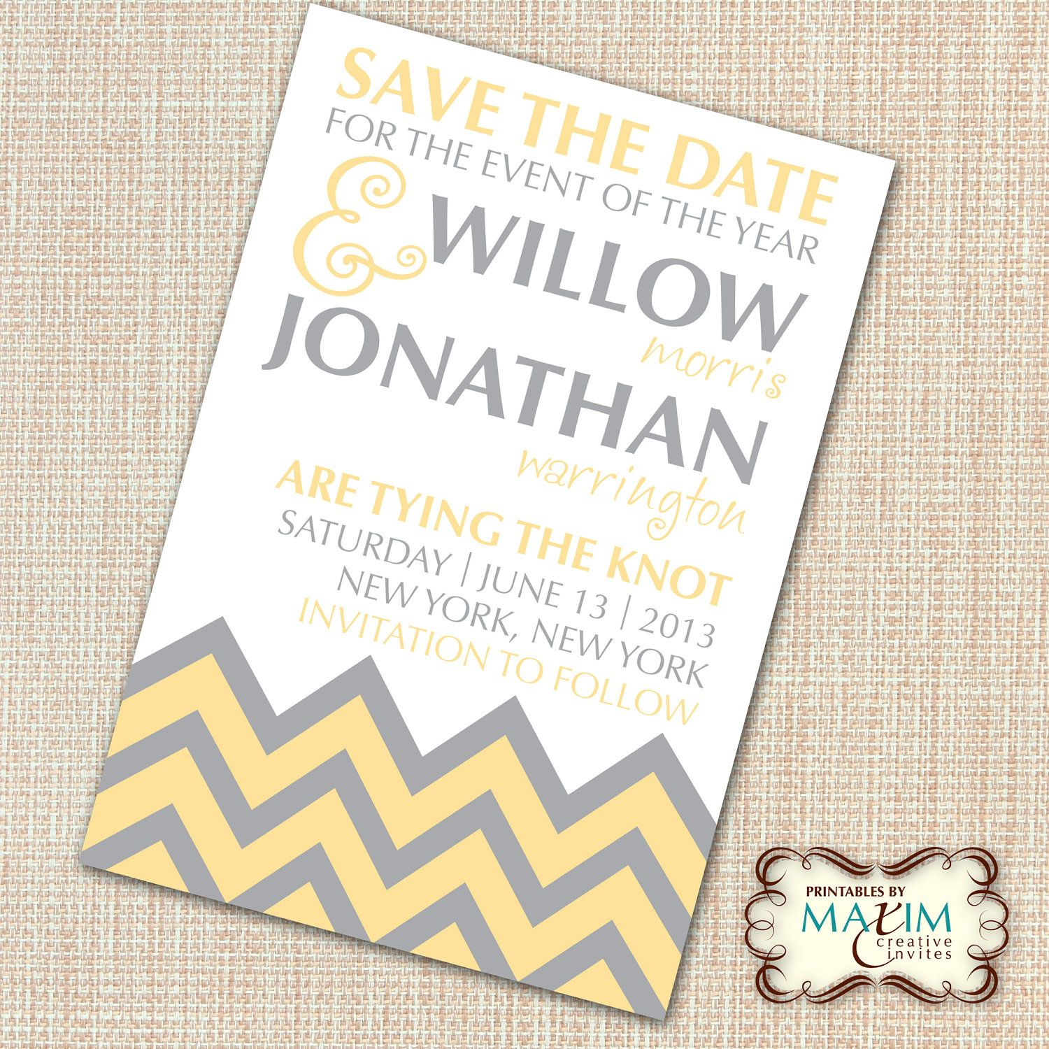 Wedding invitation, Chevron Pattern Invitation. | My Wedding ...