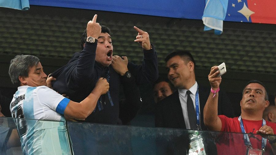 World Cup 2018 Fifa Punishes Maradona For Raising Middle Fingers At Nigerian Fans Diego Maradona Argentina Players World Cup