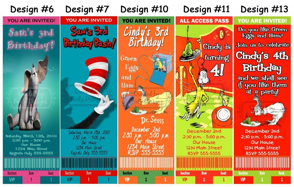 Dr Seuss Grinch Cat in the Hat Birthday Party Ticket Invitations - party ticket invitations