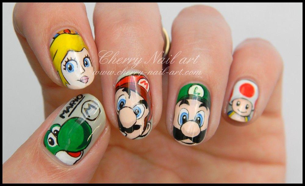 nail art mario luigi peach toad et yoshi | Nails | Pinterest | Makeup