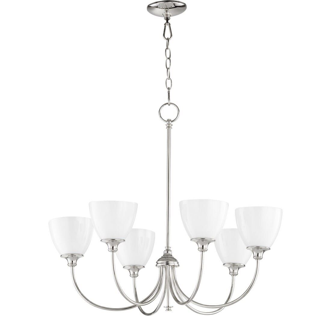 Quorum Celeste 6 Light 25 Transitional Chandelier In Polished Nickel Cool Floor Lamps Polished Nickel Transitional Chandeliers