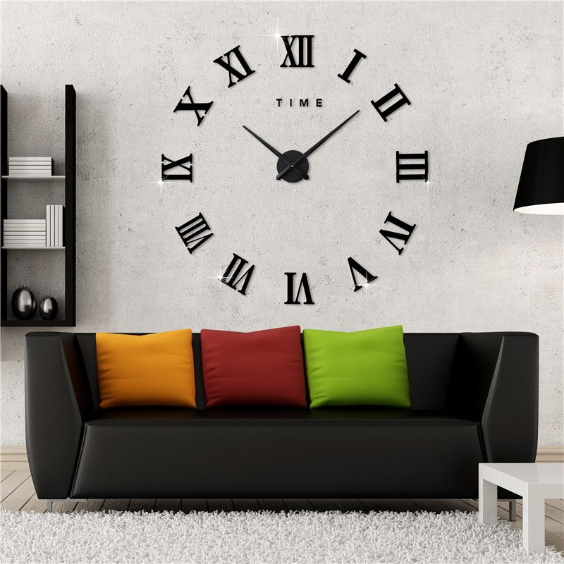 Hot Model Diy Clock Living Room Wall Watch Super Big Mirror Wall Clock  Roman Numerals Decorative