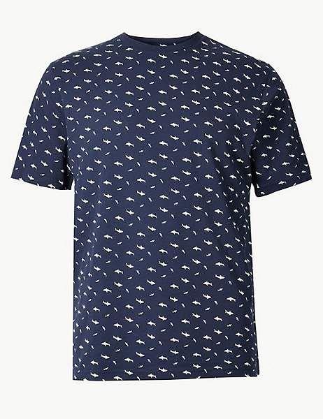 Shark pattern fashionable mens pure cotton Tshirt