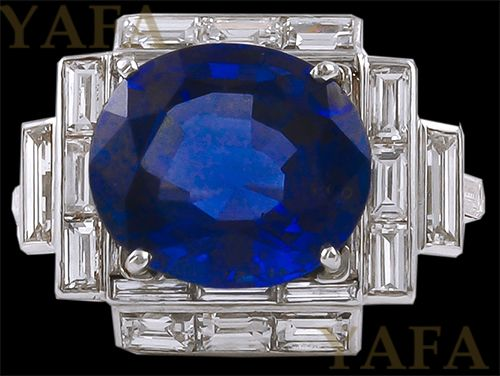 Platinum Diamond and Oval Shape Sapphire Ring - Yafa Jewelry