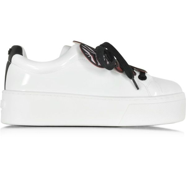 Kenzo Shoes Flower White Pantent Leather Platform Sneaker (£320) ❤ liked on Polyvore featuring shoes, sneakers, white leather trainers, white lace up sneakers, white platform sneakers, lace up shoes and white leather shoes