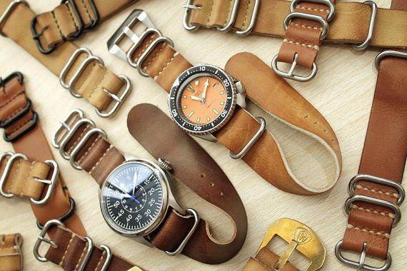 20mm 22mm 24mm Handmade Vintage Nato Zulu Leather by V28Customs