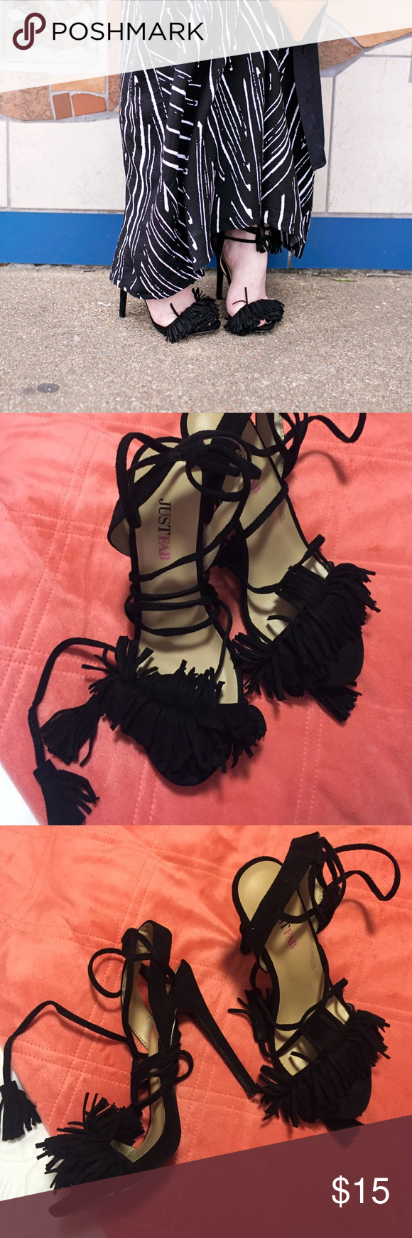 4 inch Lace up Fringe Heels Just Fab (7) Worn 1 time. Just too tall for me. These are the lace up fringe heels that were constantly sold out everywhere. JustFab Shoes Heels