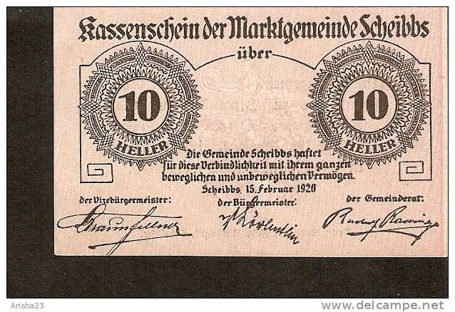 A44 Austria Kassenschein Der Marktgemeinde Scheibbs 10 Heller 1920 Bank Notes 10 Things Austria