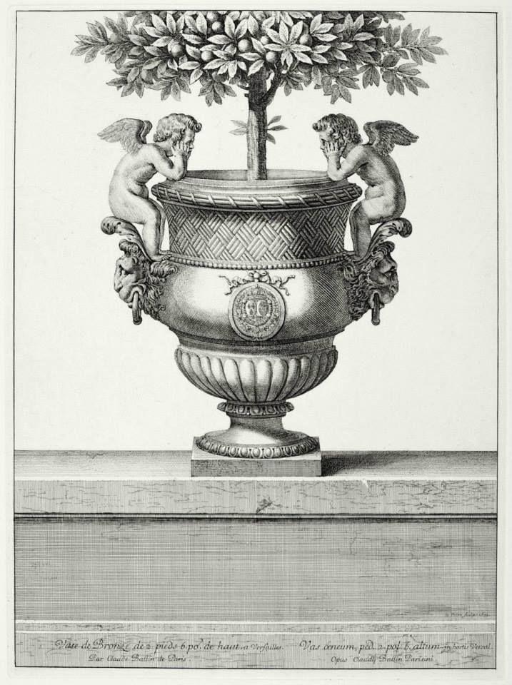 Claude Ballin (1615-1678), maître orfèvre; Jean Lepautre (1618-1682) graveur – Vase de bronze orné de deux Amours (Versailles), 1673 - Paris, Chalcographie du Louvre