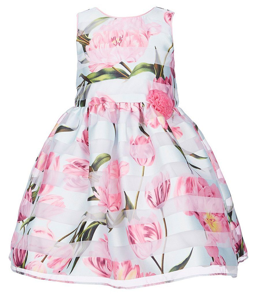 b5f939e3 This toddler girl Easter dress has a shadow stripe /floral design with a  three-