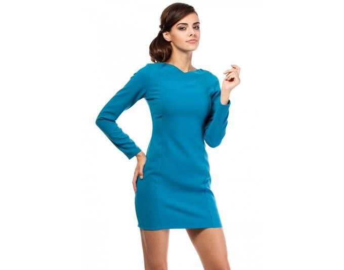 Clea Cocktailkleid klassisches Kleid musterlos lange Ärmel V ...