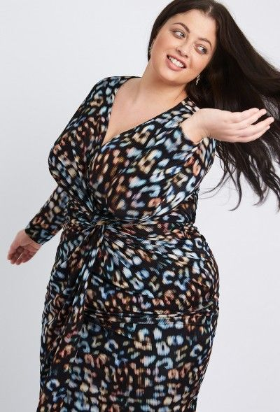 ec2e9425289 LEOPARD STRIPE JERSEY KNOT DRESS - Plus Size Clothing by Anna Scholz ...
